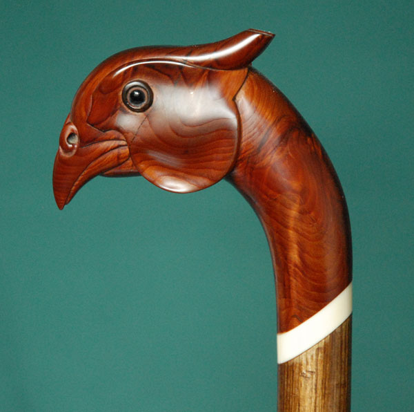 Pheasant shaped walking stick handle