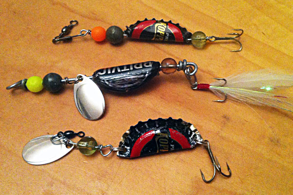 Bottle cap lures and spinners