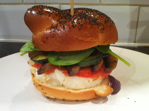 Goats cheese and roasted veg burger