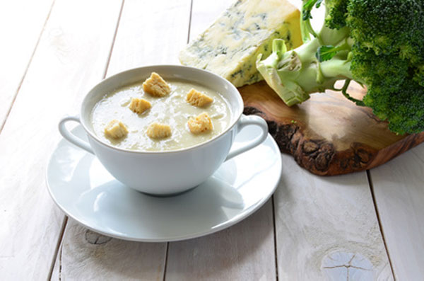 Homemade broccoli and stilton soup
