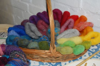Coloured wool ready to spin