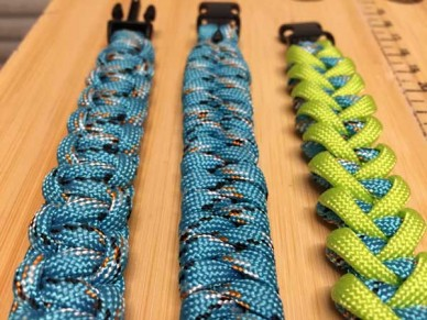 Three different styles of paracord weave