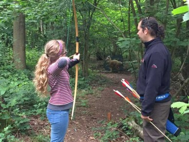 Taking aim at the first target - field traget archery